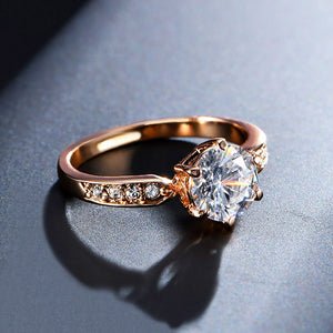 Rose Gold Color Wedding Rings With Anel Austrian Crystals