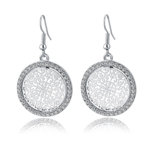 Image of Round Flower Gold & Silver  Plated Earrings With Crystal
