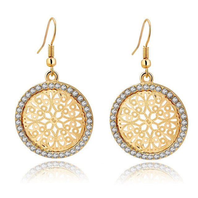 Round Flower Gold & Silver  Plated Earrings With Crystal