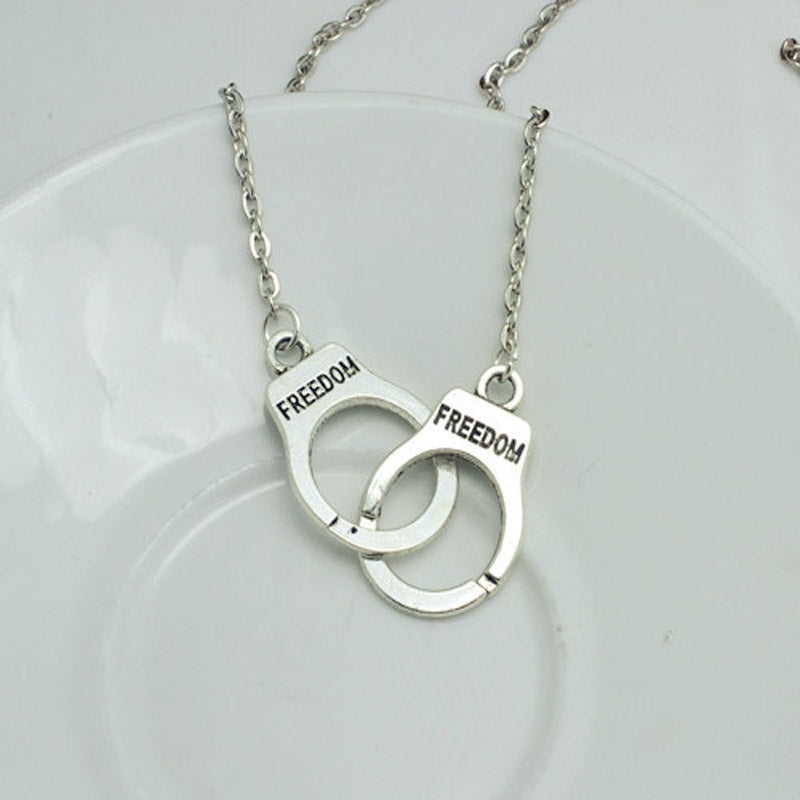 Silver Plated Handcuffs Choker Pendant Necklace