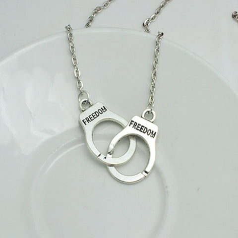 Image of Silver Plated Handcuffs Choker Pendant Necklace