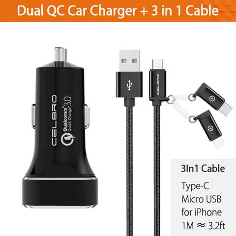 Image of Car Charger Equipped with Quick Charge 3.0