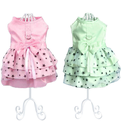 Cute Summer Layered Skirt Dresses Embellished with Big Bow for Puppies and Dogs