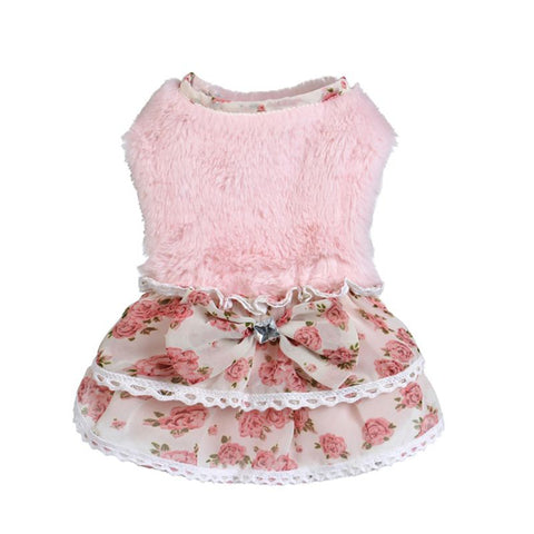 Cute Fleece Floral Dresses for Puppies and Dogs