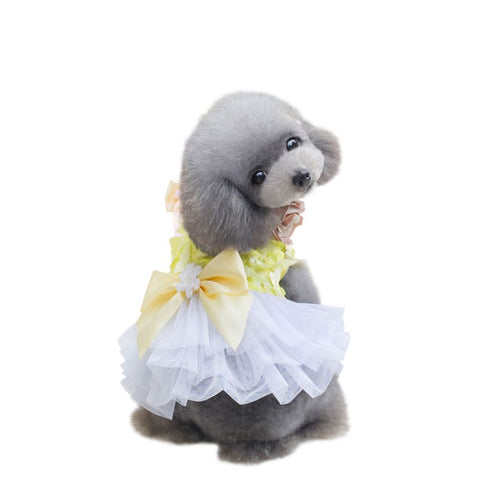 Summer Tutu Lacy Dresses with Cute Bow for Puppies and Dogs