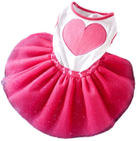 Cute Girl Heart Lacy Dresses for Puppies and Dogs