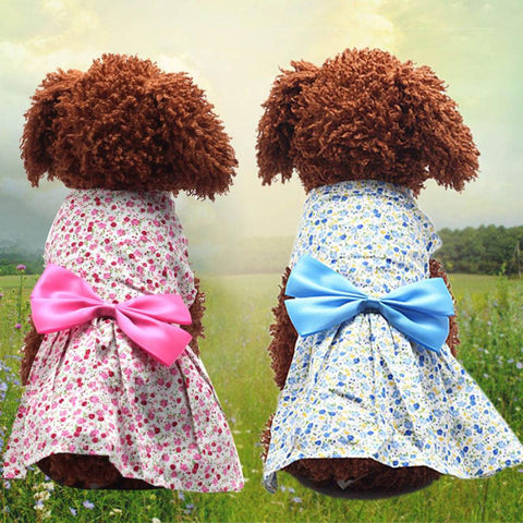Cute Girl Summer Spring Floral Dresses with Bow for Puppies and Dogs