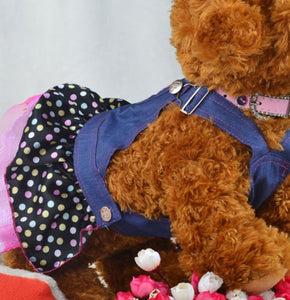 Cute Girl Sweet Heart Sequins Dog Denim  Dresses for Puppies and Dogs