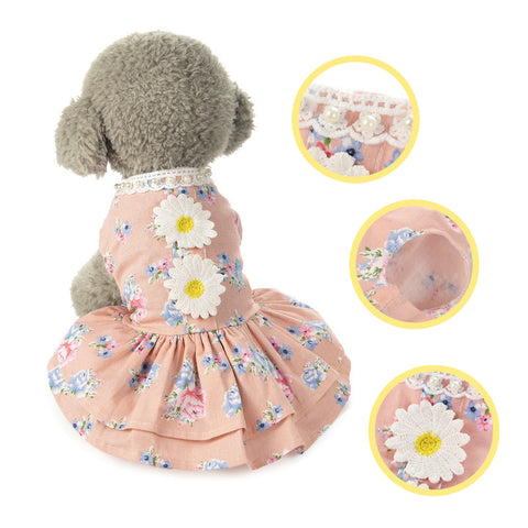 Daisy Cotton Floral Summer Dresses for Puppies and Dogs