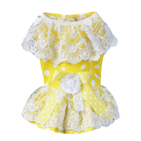 Cute Bow Tutu Big Dots Printing Lace Skirt Dresses for Puppies and Dogs