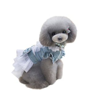 Cute Denim Lace, Tulle Dresses with Cute Bow for Puppies and Dogs