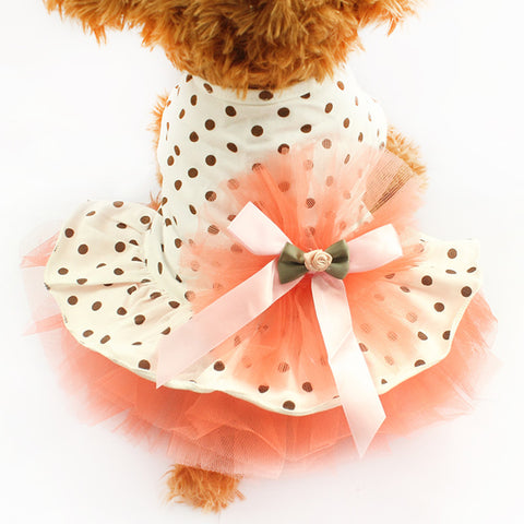 Super Cute Fluffy Dot Gauze Princess Skirt Dresses for Puppies and Dogs