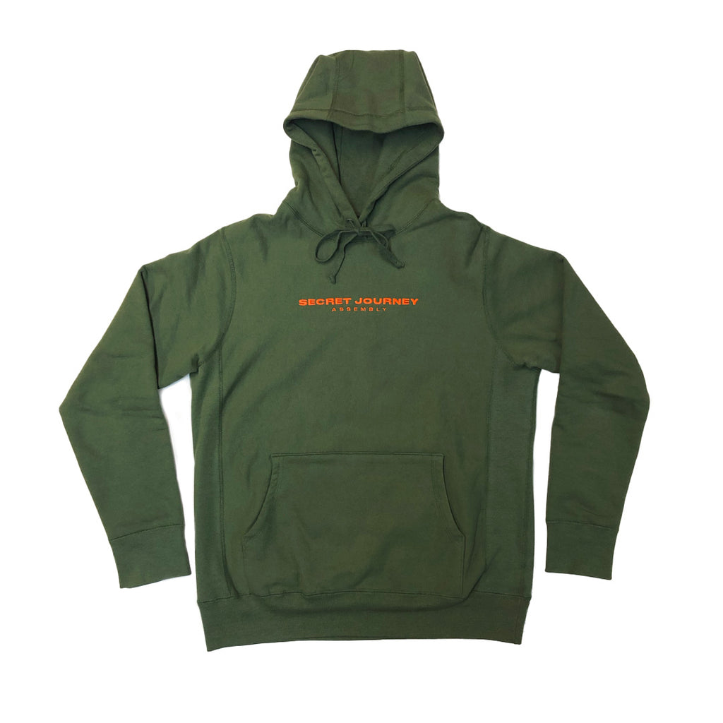 Secret Journey Regal Pullover - Olive w/ Orange - Made in Canada