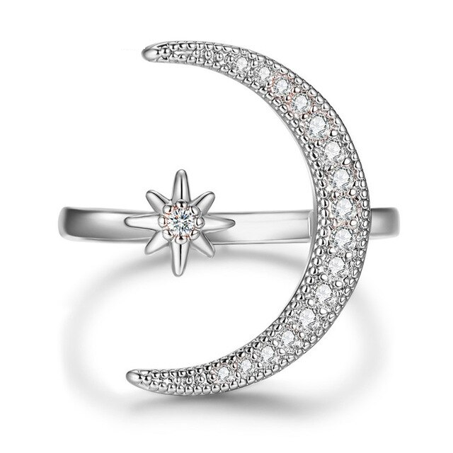 Adjustable Moon & Star Ring