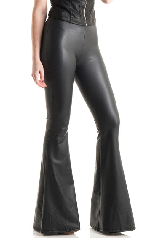 Vegan leather bell bottoms