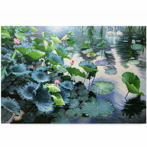 Lotus Flower Pond Canvas Wall Art