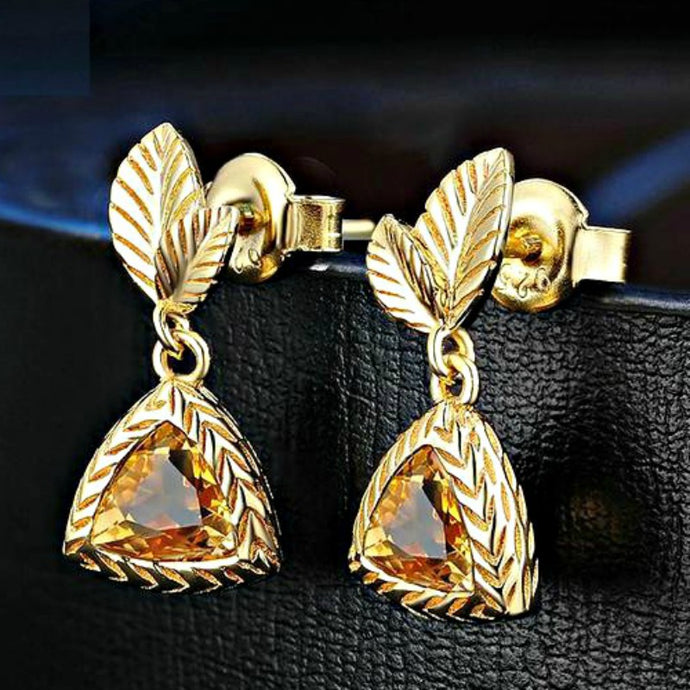 Natural Citrine Silver Drop Earrings