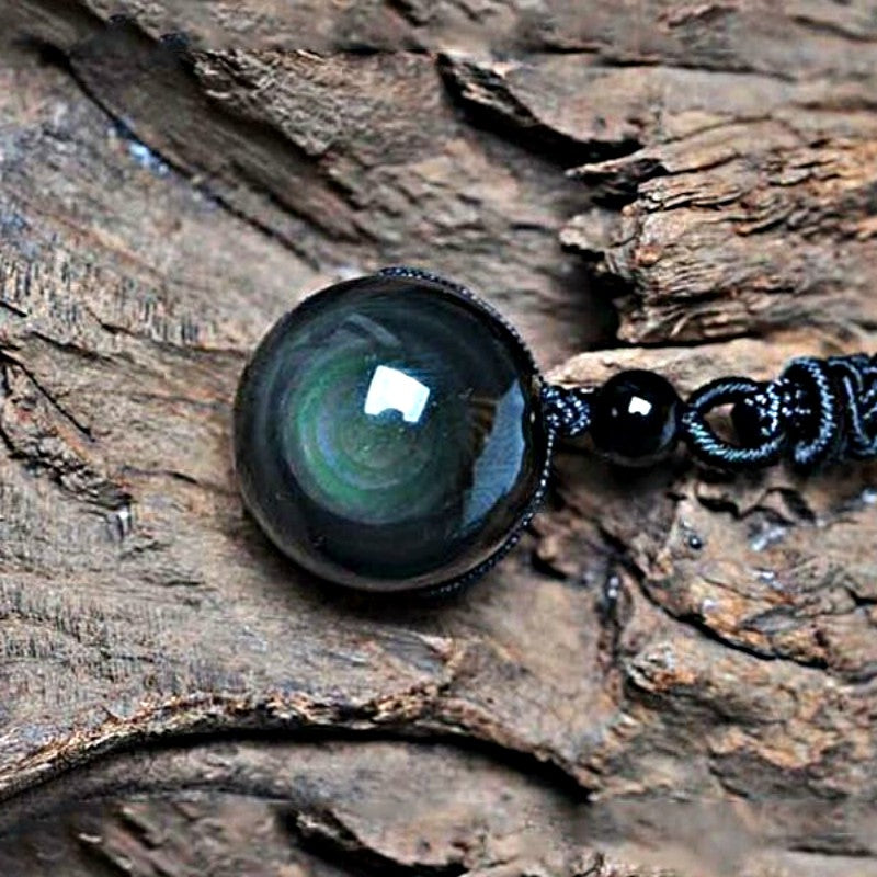 Natural Black Rainbow Eye Obsidian Sphere Pendant Necklace