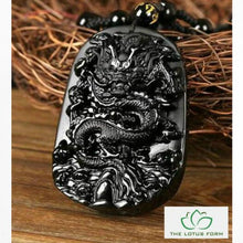 Natural Obsidian Dragon Drop Pendant Necklace