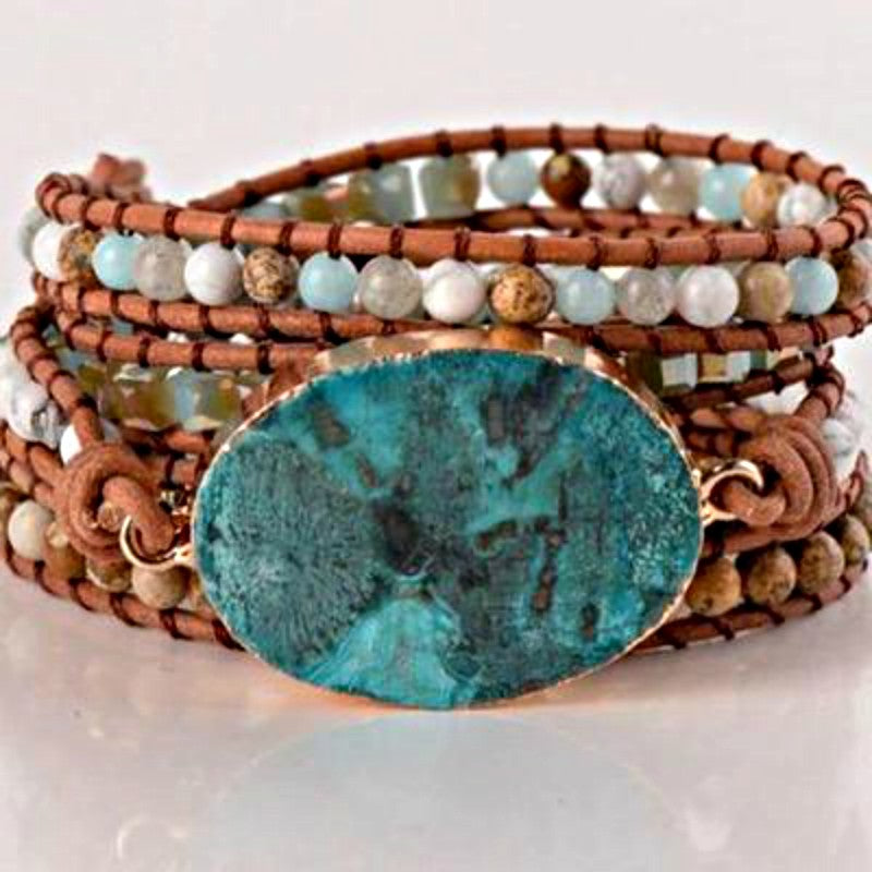 Natural Jasper Boho Leather Wrap Bracelet