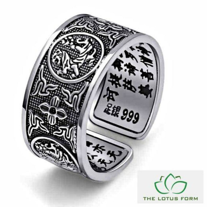 4 Legendary Creatures 'Heart Sutra' Silver Ring
