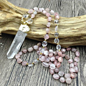 Natural Rose Quartz & Clear Quartz Gemstone Necklace