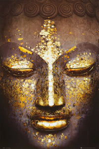 Golden Accents Buddha Head Oil Painting (BD4)