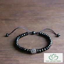 Black Agate Tibetan Six Words Charm Mala Bracelet