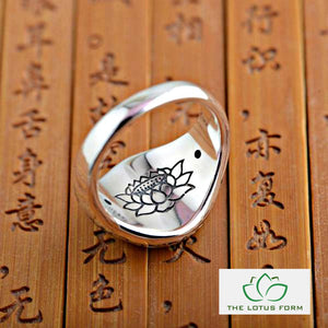 Buddhist Lotus Mantra Solid Silver Ring