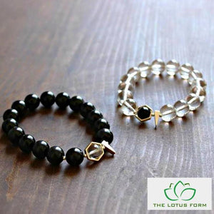 Natural Black Obsidian & Pure Crystal Couple Bracelets