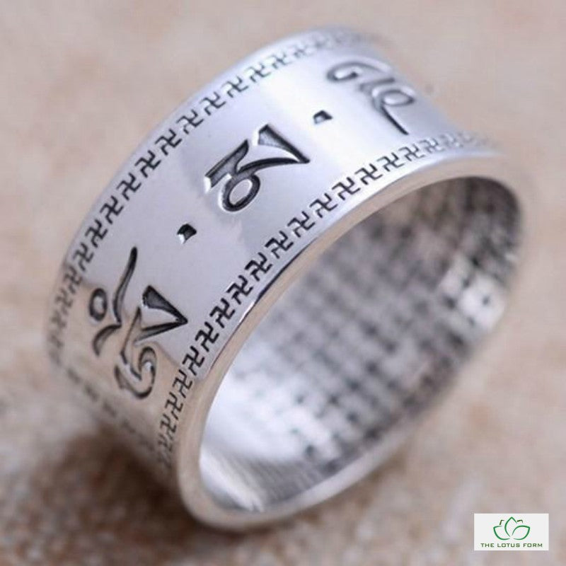 Handcrafted Six Words Mantras Silver Ring