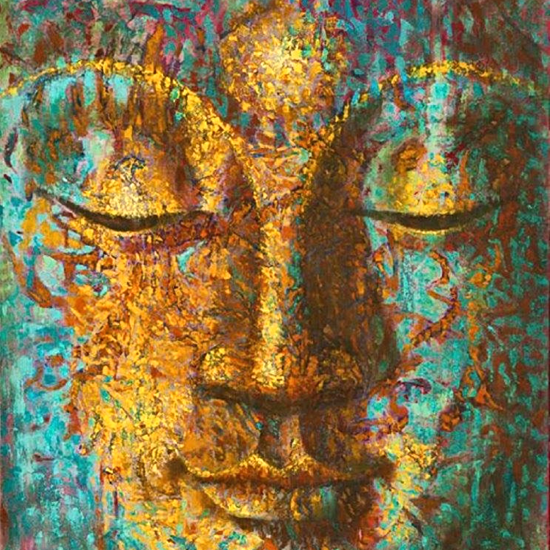 Golden Accents Buddha Oil Painting (BD6)