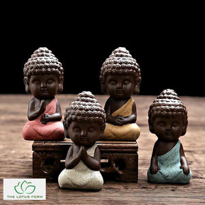 Handpainted Ceramic Little Buddha Figurine