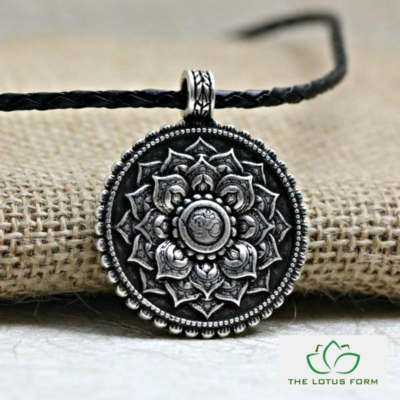 Om Lotus Mandala Pendant Necklace