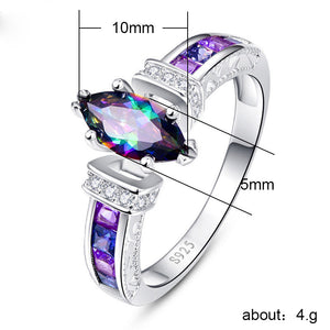 Rainbow Mystic Fire Topaz Silver Ring