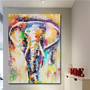 Abstract Impressionist Elephant Canvas Wall Art