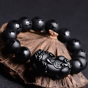Natural Black Agate Obsidian PiXiu Six Words Mantra Bracelet
