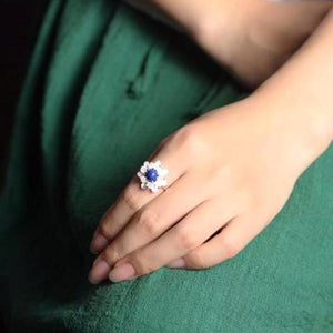 Sterling Silver Lotus Flower Ring with Lapis Lazuli / Pearl