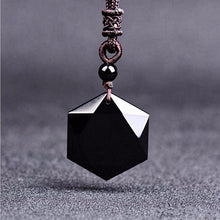 Natural Obsidian Hexagram Pendant Necklace