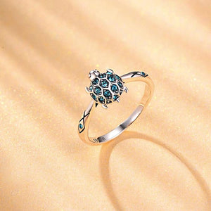 Cute Blue Turtle Silver Ring