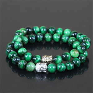 2pcs Natural Green Tiger Eyes Stone Charm Bracelet