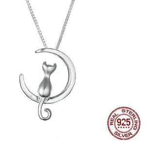 925 Sterling Silver Crescent Moon Cat Pendant Necklace