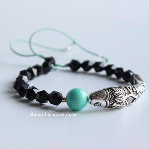 Buddhist Lotus Fish Blue Sand Stone Amazon Bracelet