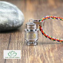 Tibetan Six Words Mantra Prayer Wheel Pendant Necklace
