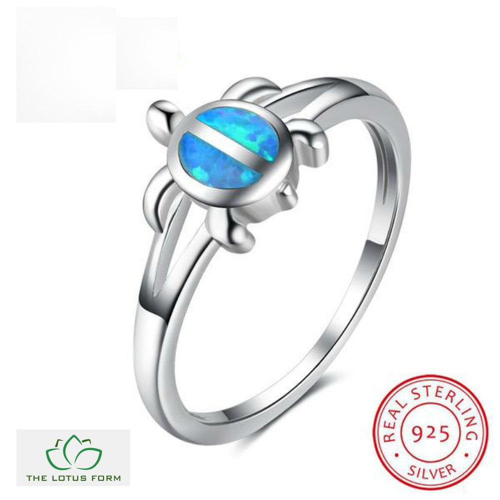 Blue Fire Opal Turtle Silver Ring The Lotus Form