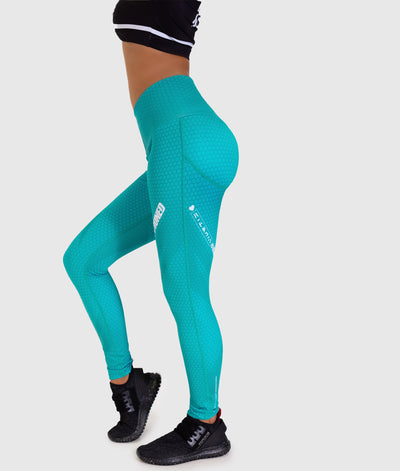 Hex Contour Leggings - Teal