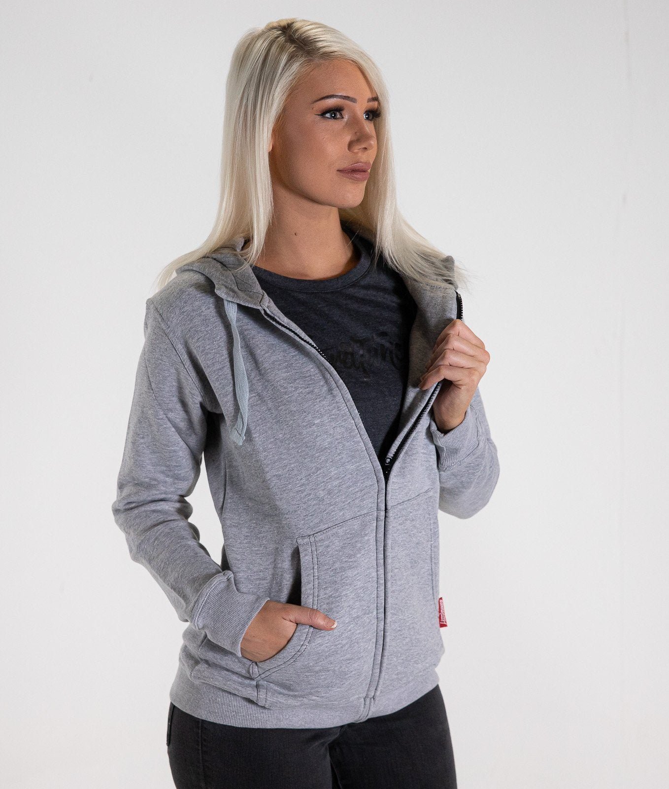 58c31629e2e33 HardTuned Brush Script Womens Hoodie - Gray