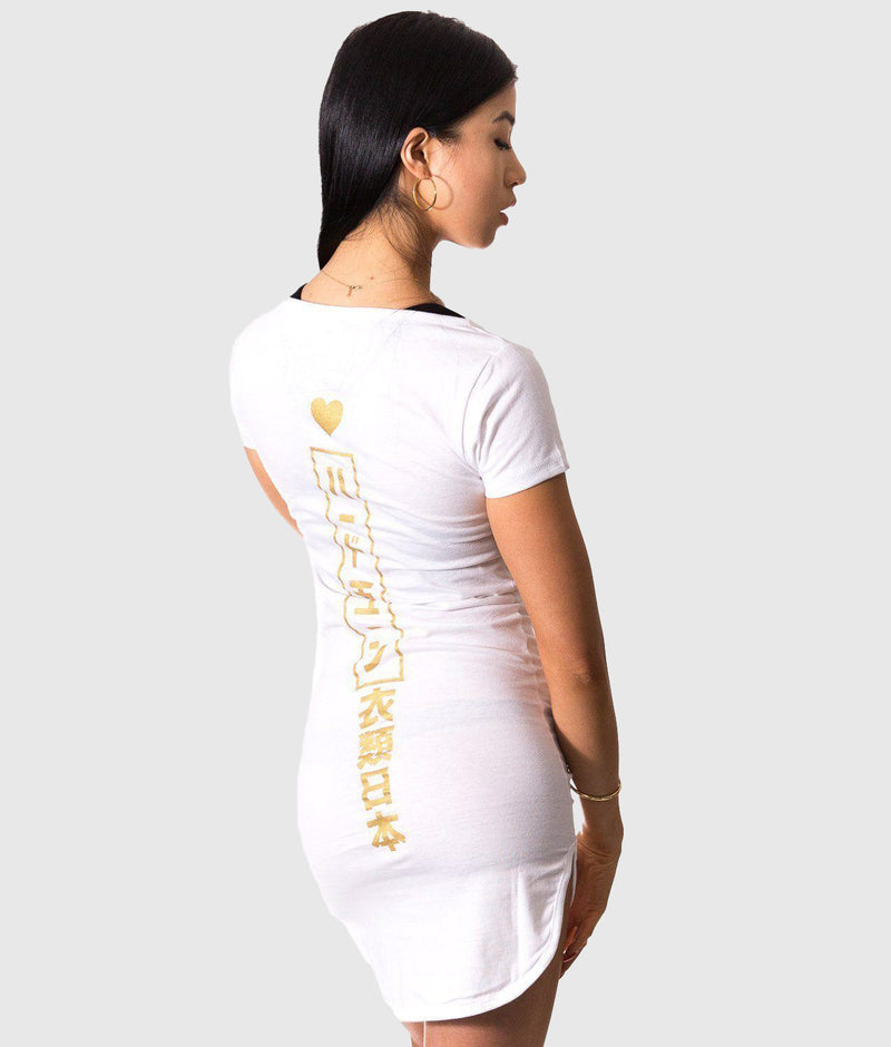 HardTuned Tokyo Fitted Tee Dress White