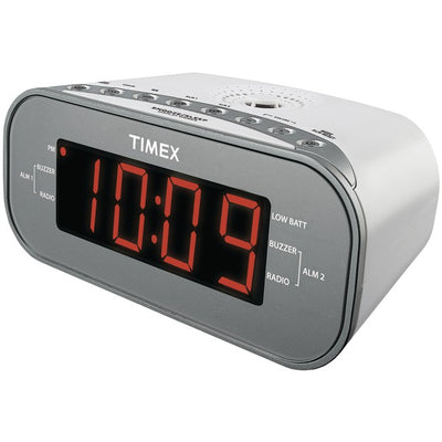 AM/FM Dual Alarm Clock Radio with Digital Tuning (White)