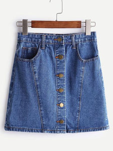 A-Line Single Breasted Denim Skirt - TAGVIN